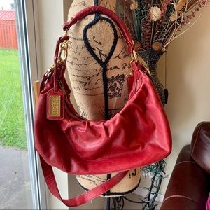 BADGLEY MISCHKA RED LEATHER HOBO BAG